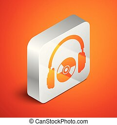Isometric Headphones and CD or DVD icon isolated on orange background. Earphone sign. Compact disk symbol. Silver square button. Vector Illustration