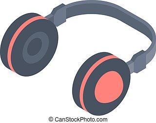 Isometric headphones icon isolated on a white background.