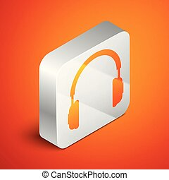 Isometric Headphones icon isolated on orange background. Earphones sign. Concept object for listening to music, service, communication and operator. Silver square button. Vector Illustration