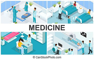 Isometric Healthcare Colorful Composition