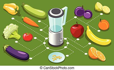 Isometric Healthy Food Concept