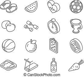 Isometric healthy lifestyle icons line art vector set.