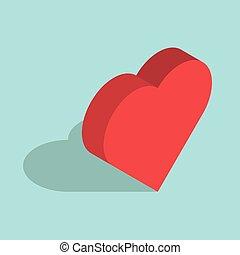 Isometric heart on blue