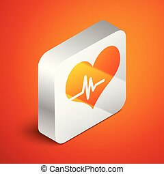 Isometric Heart rate icon isolated on orange background. Heartbeat sign. Heart pulse icon. Cardiogram icon. Silver square button. Vector Illustration