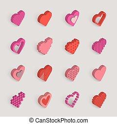 isometric hearts vector icons set