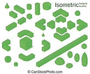 Isometric hedge and bushes set. Vector illustration