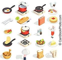 isometric, het koken, verzameling, iconen