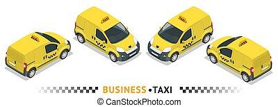 Isometric high quality city service transport icon set. Car...