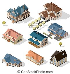 Isometric High Quality City Street Urban Buildings isolated on Background.