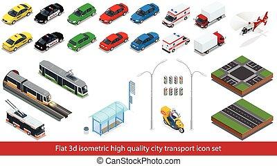 Isometric high quality city transport icon set Subway train...