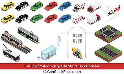 Isometric high quality city transport icon set. Subway train, Police, taxi, truck,  Mini, subway train, bus,  street road, Garbage Truck, sedan. Vector 3d illustration.