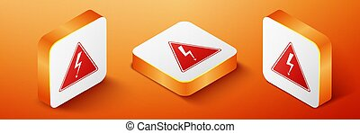 Isometric High voltage sign icon isolated on orange background. Danger symbol. Arrow in triangle. Warning icon. Orange square button. Vector