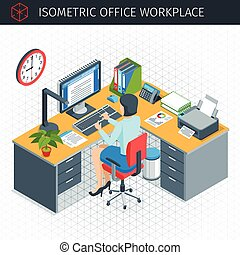 isometric, hivatal, workplace