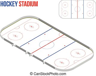 Isometric hokkey stadium. Vector sport field scheme.