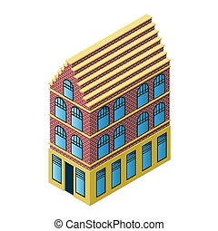 Isometric holland house, 3d model for building concept, vector