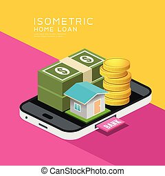 Isometric home and money vector on mobile phone, design
