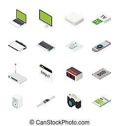 Isometric home and office computer equipment with desktop, laptop, tablets  phone etc.