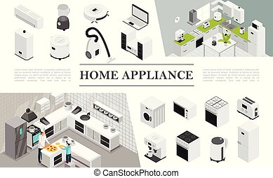 Isometric Home Appliances Composition