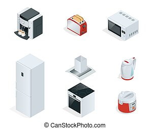 Isometric Home appliances. Set of household kitchen technics Coffee maker, toaster, microwave, kettle, multivarka, fridge, induction hob, extractor isolated on white.