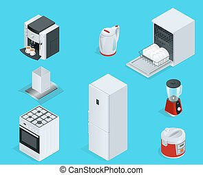 Isometric Home appliances. Set of household kitchen technics dishwasher, gas stove, coffee maker, blender, kettle, fridge, multivarka, extractor, crockery.