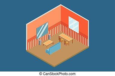 isometric home interior design flat vector