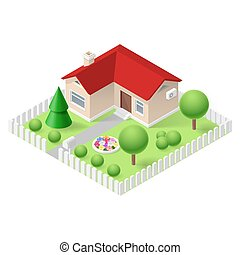 Isometric home - Isometric 3d small home fenced with green ...