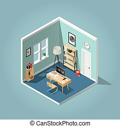 Isometric home office
