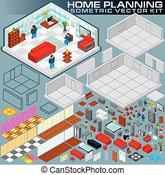 Isometric Home Plan. 3D Vector Creation Kit