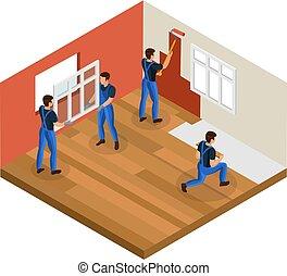 Isometric Home Renovation Concept
