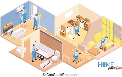 Isometric repairs composition with text and set of apartment rooms and workers performing various decoration works vector illustration