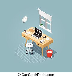 Isometric home workplace illustration