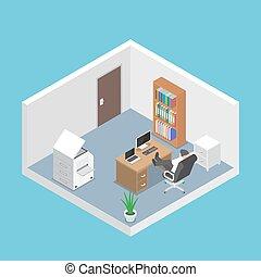 isometric, homem negócios, relaxante, em, escritório, sala