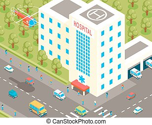 Isometric hospital and ambulance building with parking 3d cars. Vector illustration in flat style