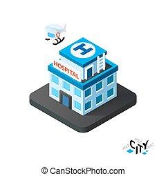 Isometric hospital icon, building city infographic element, vector illustration