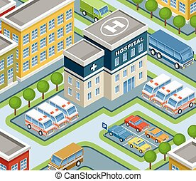 Isometric hospital. - Image isometric hospital, street, cars...