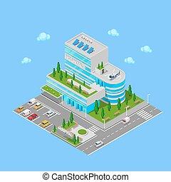 Isometric Hospital. Medical Center Modern Building. Vector...