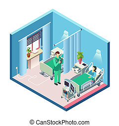 isometric hospital room, patient, doctor