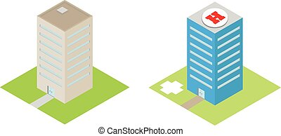 Isometric hospital with a heliport and commercial buildings vector flat 3d illustration