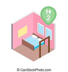 Isometric hostel bed room vector illustration