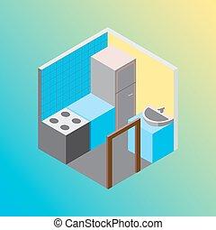 Isometric hostel kitchen room vector illustration