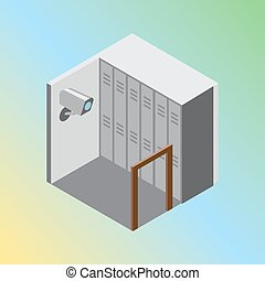 Isometric hostel storage room vector illustration