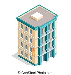Isometric hotel building place isolated icon vector illustration design