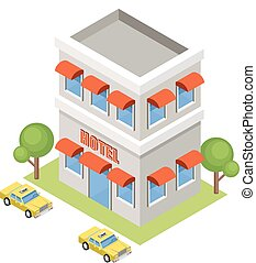 Isometric hotel on a white background. Vector illustration
