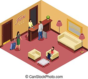 Isometric Hotel Reception Template