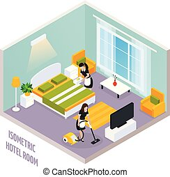 Isometric Hotel Room Interior