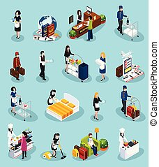 isometric, hotel, set, dienst, pictogram