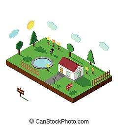 Isometric house. 3D Village landscape. Isolated Yard -...