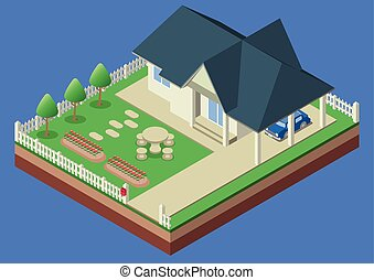 Isometric house and garden yard