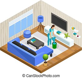 Isometric House Cleaning Concept