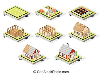 Isometric House Construction Phases Isolated on White. Stages from Plan to Finished Building.